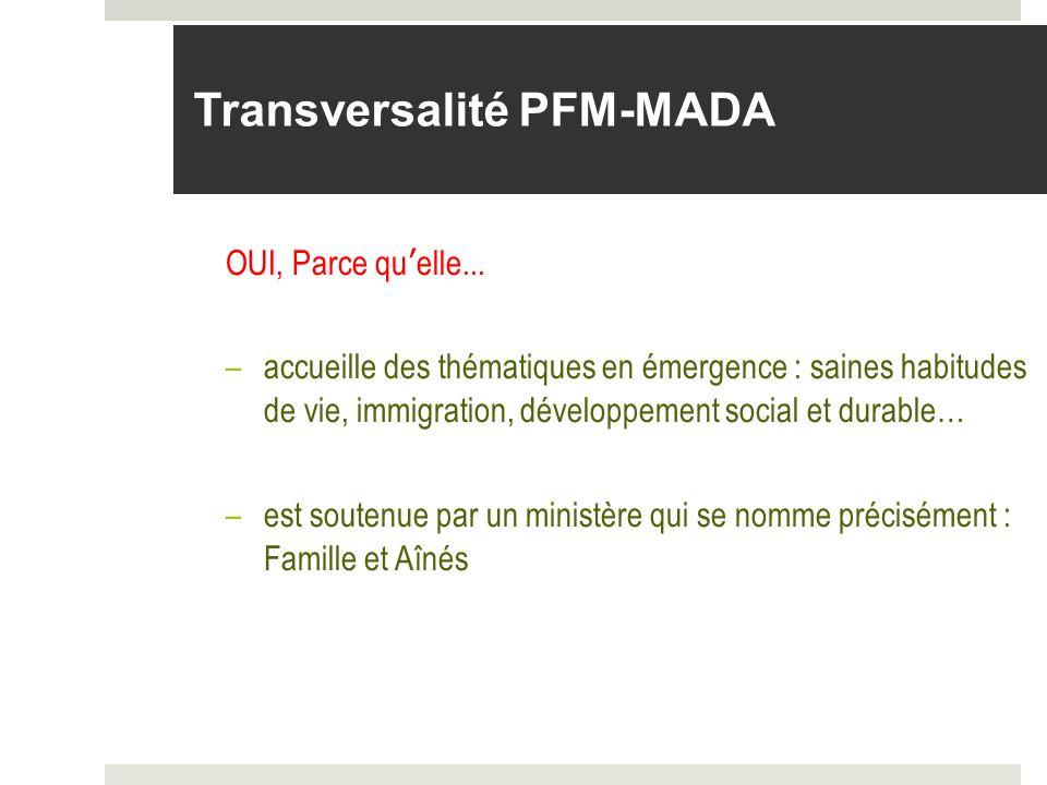 Transversalité PFM-MADA OUI, Parce quelle... –accueille des thématiques en émergence : saines habitudes de vie, immigration, développement social et d