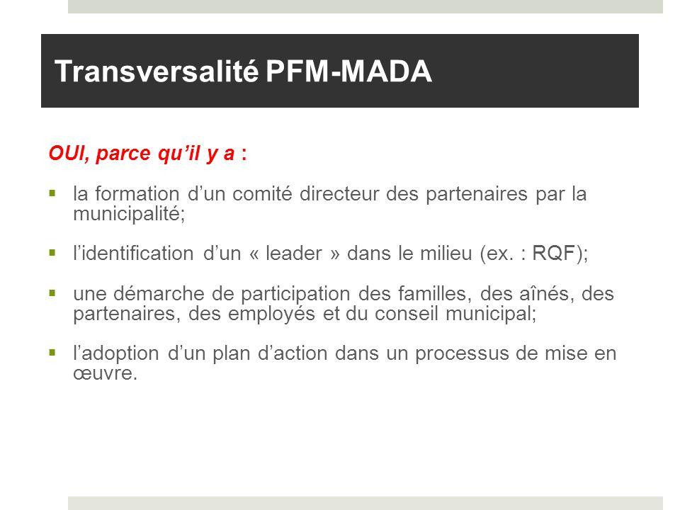 OUI, parce quil y a : la formation dun comité directeur des partenaires par la municipalité; lidentification dun « leader » dans le milieu (ex. : RQF)