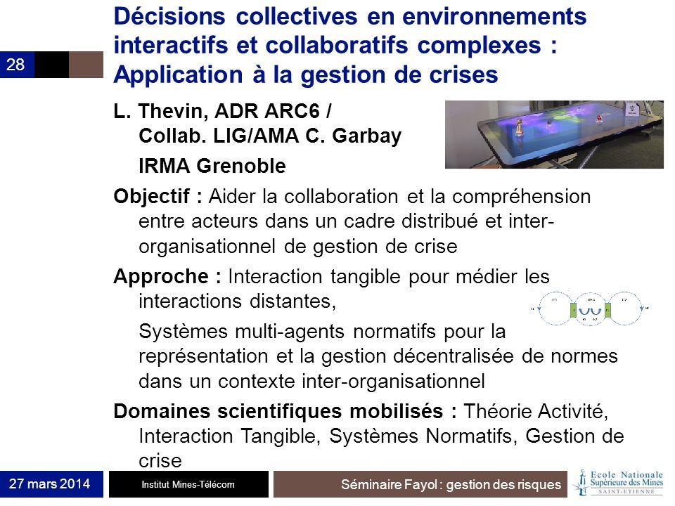 Institut Mines-Télécom Séminaire Fayol : gestion des risques 27 mars 2014 28 Décisions collectives en environnements interactifs et collaboratifs comp