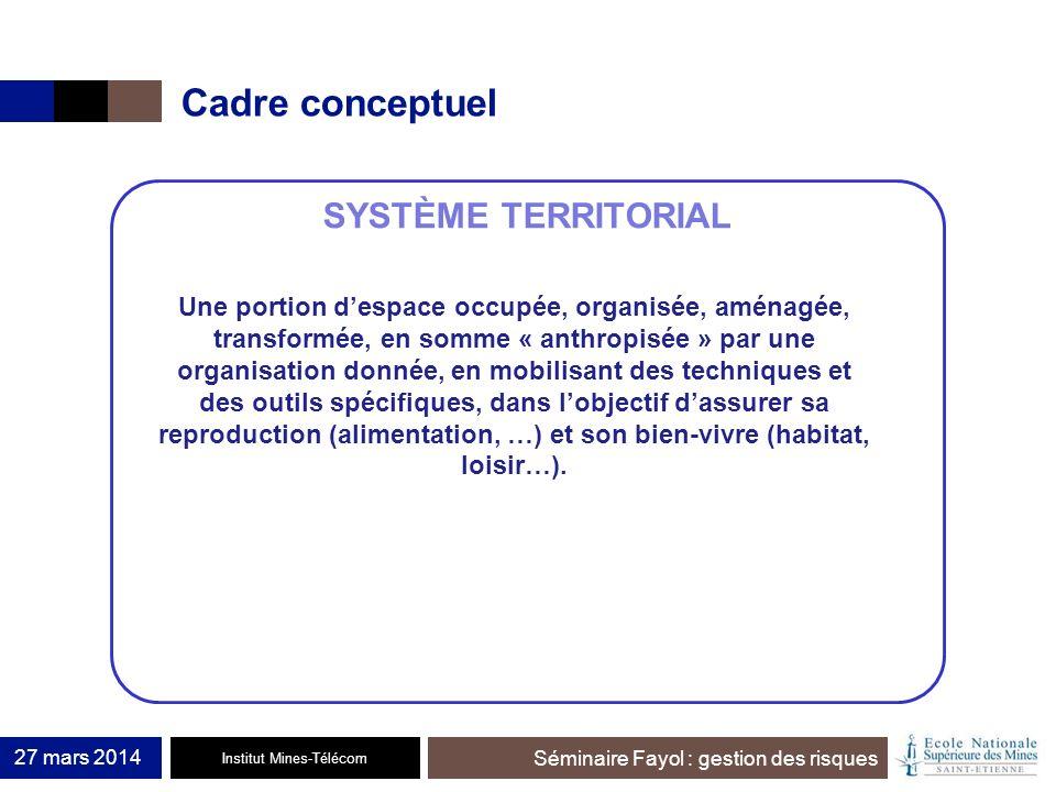 Institut Mines-Télécom Séminaire Fayol : gestion des risques Cadre conceptuel 27 mars 2014 SYSTÈME TERRITORIAL Une portion despace occupée, organisée,