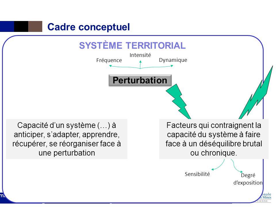 Institut Mines-Télécom Séminaire Fayol : gestion des risques Cadre conceptuel 27 mars 2014 SYSTÈME TERRITORIAL Perturbation Enjeux Vulnérabilité Enjeu