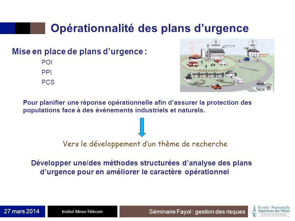 Institut Mines-Télécom Séminaire Fayol : gestion des risques Opérationnalité des plans durgence 27 mars 2014 Mise en place de plans durgence : POI PPI