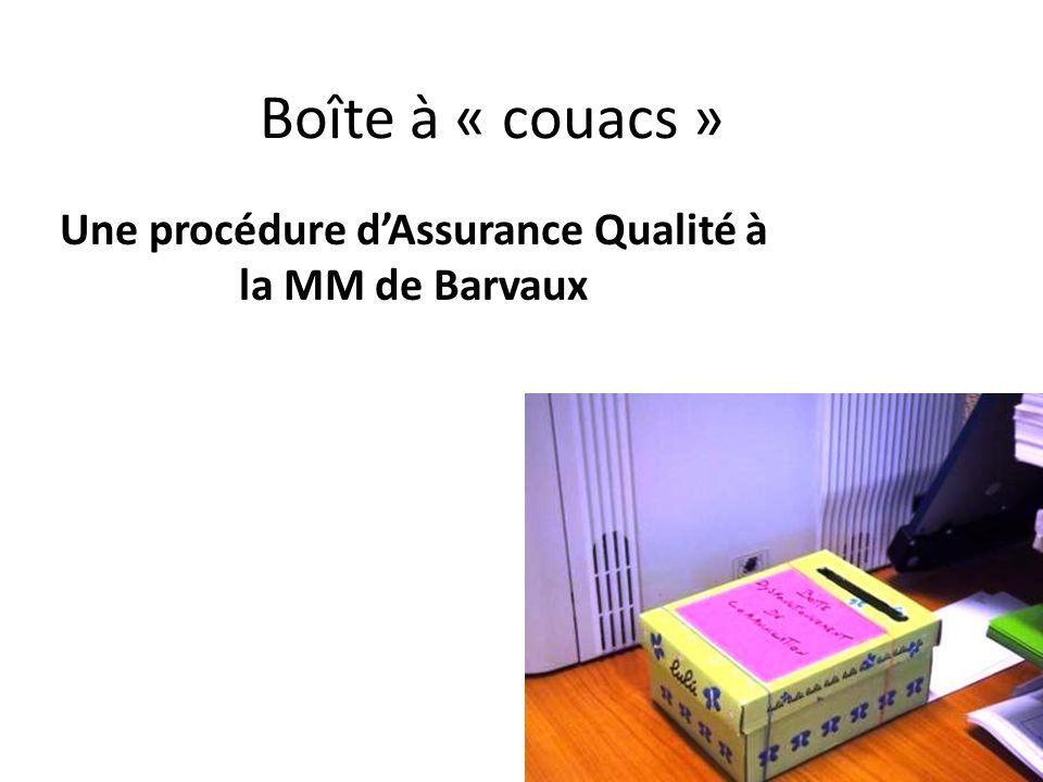 Boîte à « couacs » Une procédure dAssurance Qualité à la MM de Barvaux
