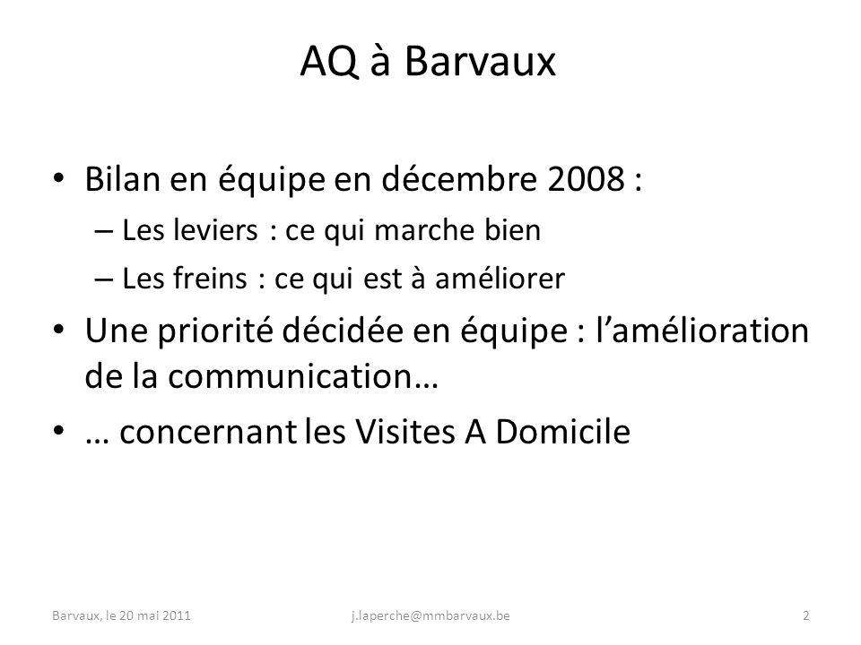 Barvaux, le 20 mai 2011j.laperche@mmbarvaux.be2 AQ à Barvaux Bilan en équipe en décembre 2008 : – Les leviers : ce qui marche bien – Les freins : ce qui est à améliorer Une priorité décidée en équipe : lamélioration de la communication… … concernant les Visites A Domicile