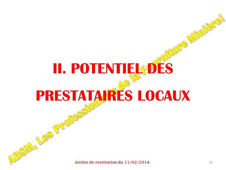 II. POTENTIEL DES PRESTATAIRES LOCAUX Atelier de restitution du 11/02/2014 10