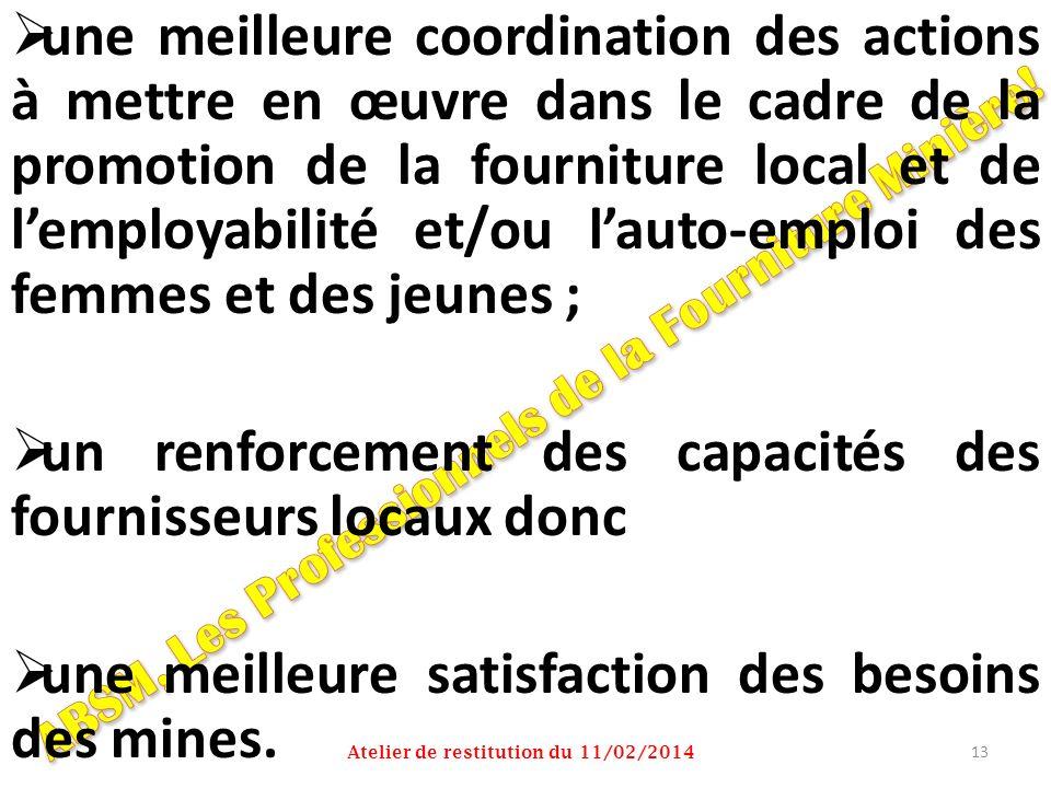 une meilleure coordination des actions à mettre en œuvre dans le cadre de la promotion de la fourniture local et de lemployabilité et/ou lauto-emploi