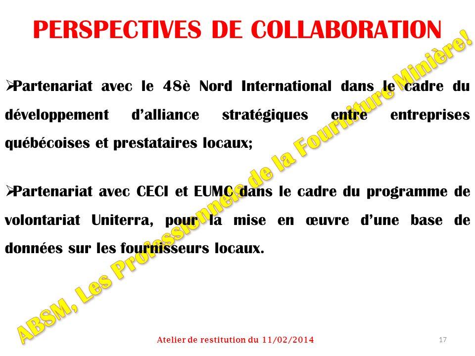 PERSPECTIVES DE COLLABORATION Partenariat avec le 48è Nord International dans le cadre du développement dalliance stratégiques entre entreprises québé