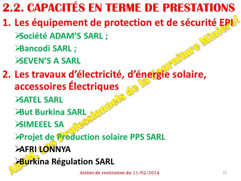 2.2. CAPACITÉS EN TERME DE PRESTATIONS 1.Les équipement de protection et de sécurité EPI Société ADAMS SARL ; Bancodi SARL ; SEVENS A SARL 2.Les trava