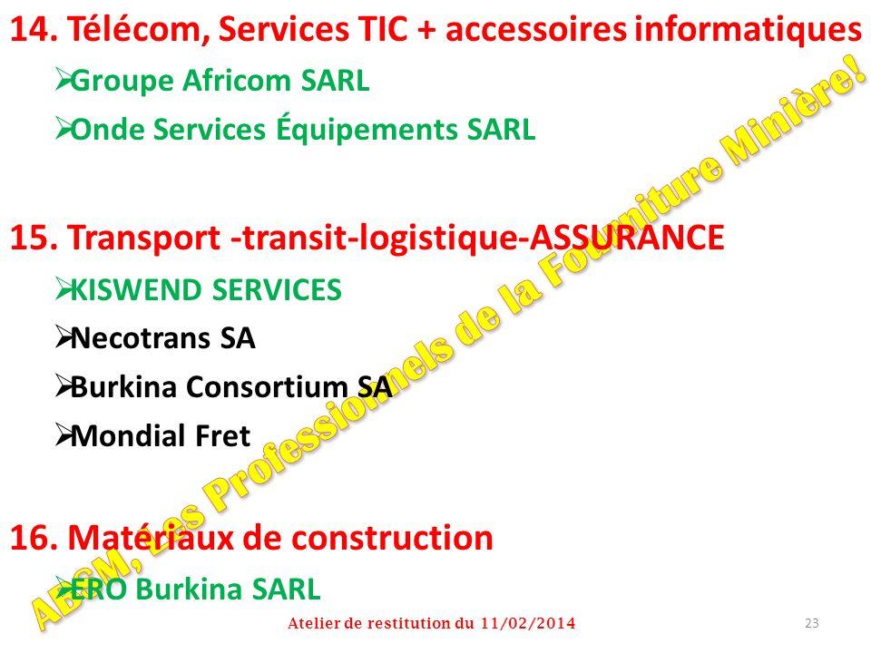 14. Télécom, Services TIC + accessoires informatiques Groupe Africom SARL Onde Services Équipements SARL 15. Transport -transit-logistique-ASSURANCE K