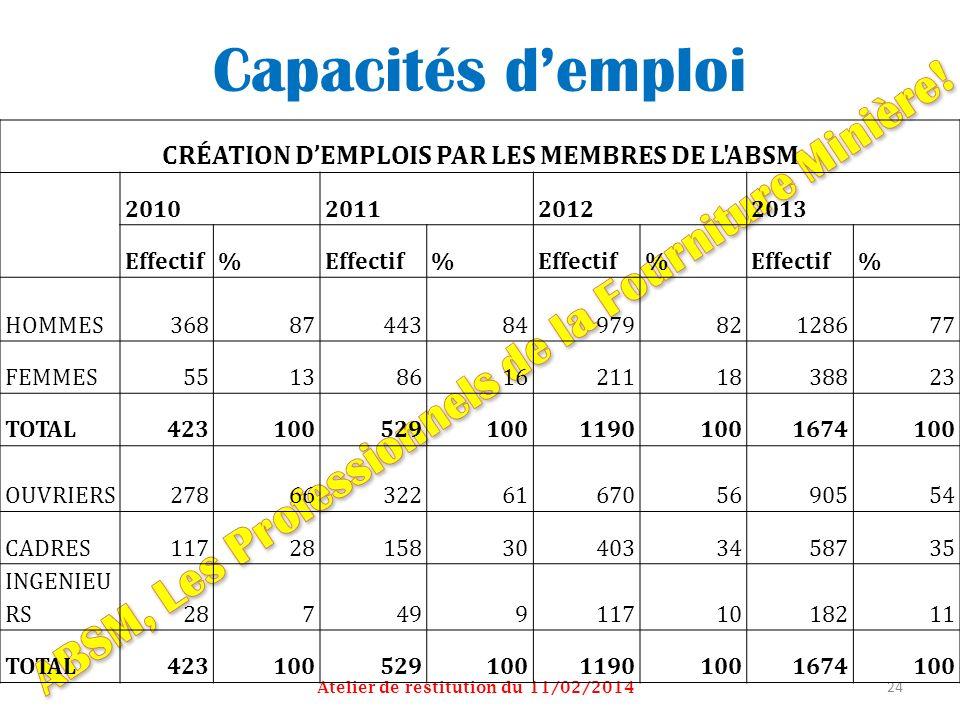 Capacités demploi Atelier de restitution du 11/02/2014 24 CRÉATION DEMPLOIS PAR LES MEMBRES DE L'ABSM 2010201120122013 Effectif% % % % HOMMES368874438