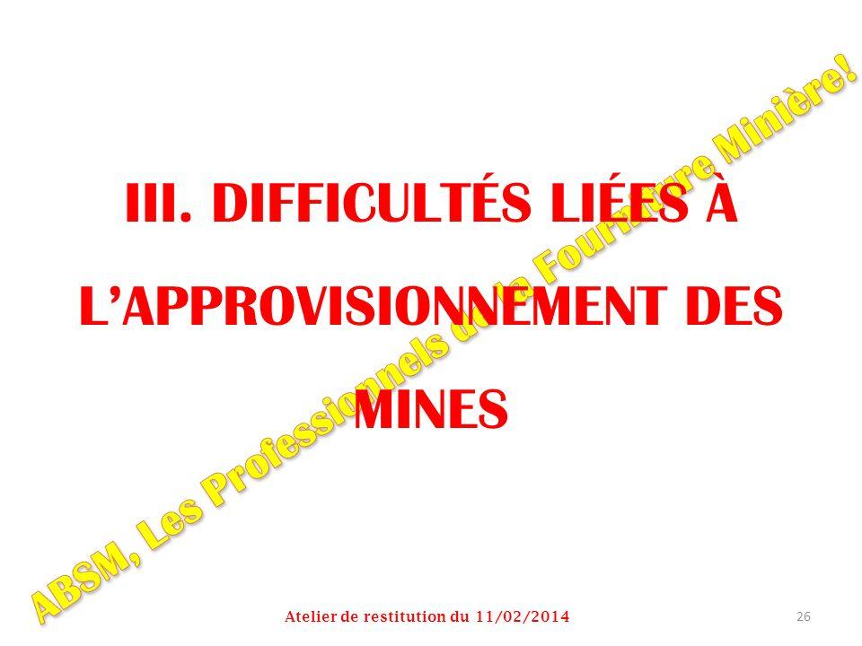 III. DIFFICULTÉS LIÉES À LAPPROVISIONNEMENT DES MINES Atelier de restitution du 11/02/2014 26