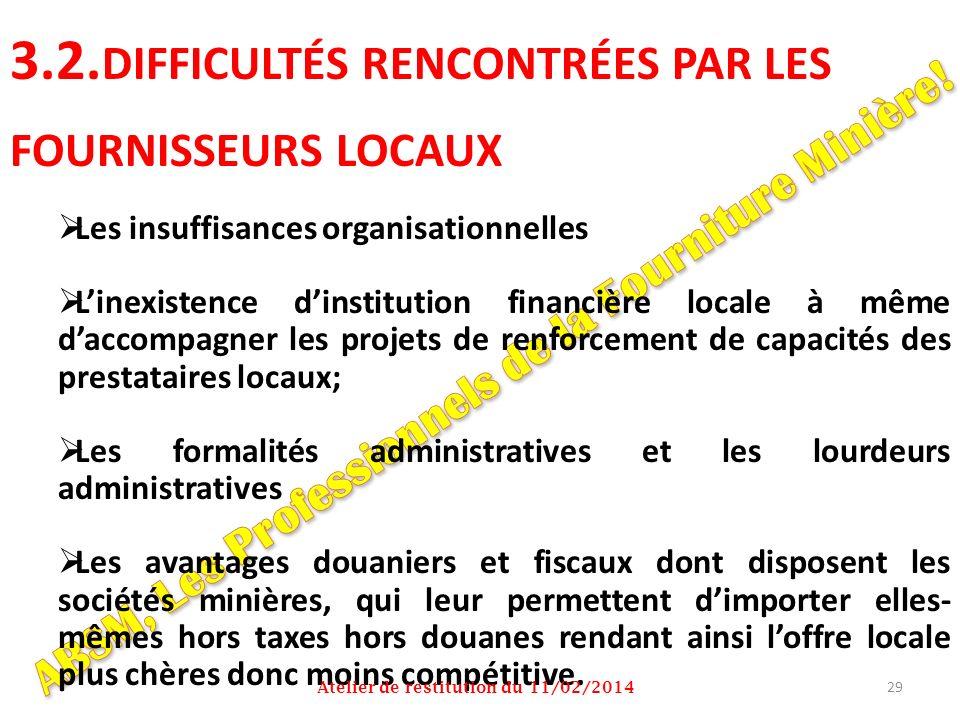 3.2. DIFFICULTÉS RENCONTRÉES PAR LES FOURNISSEURS LOCAUX Les insuffisances organisationnelles Linexistence dinstitution financière locale à même dacco