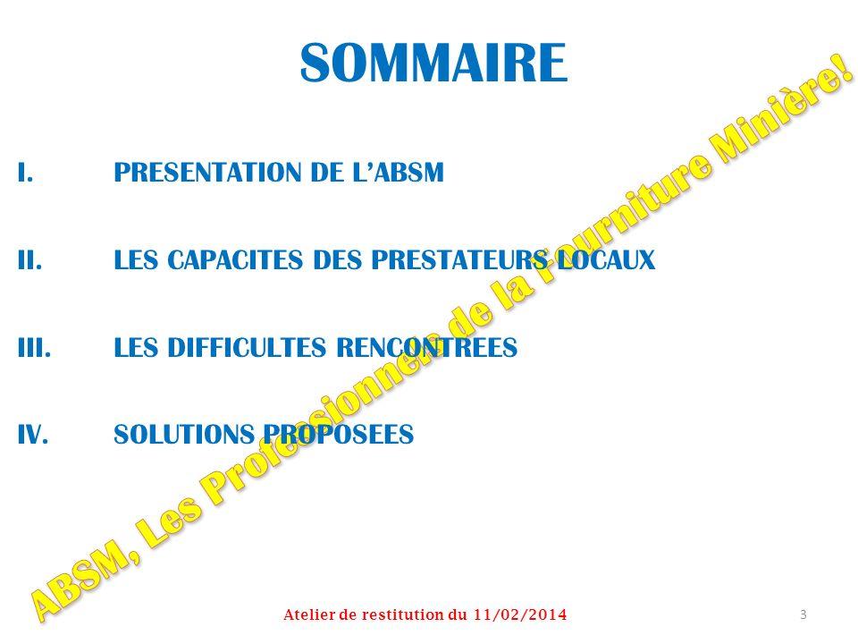 SOMMAIRE I.PRESENTATION DE LABSM II.LES CAPACITES DES PRESTATEURS LOCAUX III.LES DIFFICULTES RENCONTREES IV.SOLUTIONS PROPOSEES Atelier de restitution