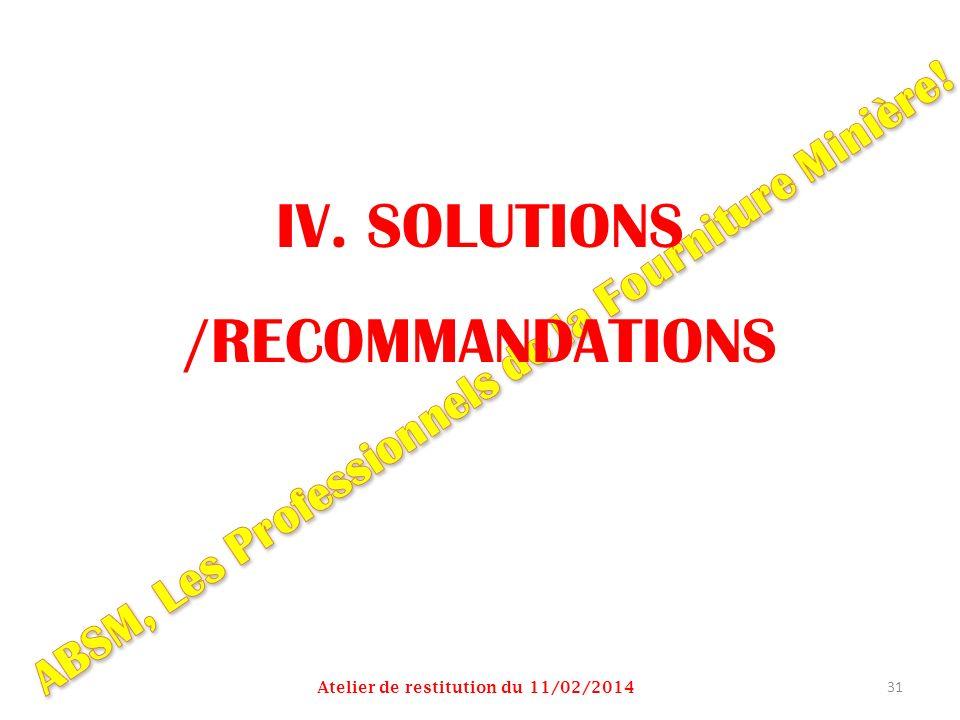 IV. SOLUTIONS /RECOMMANDATIONS Atelier de restitution du 11/02/2014 31