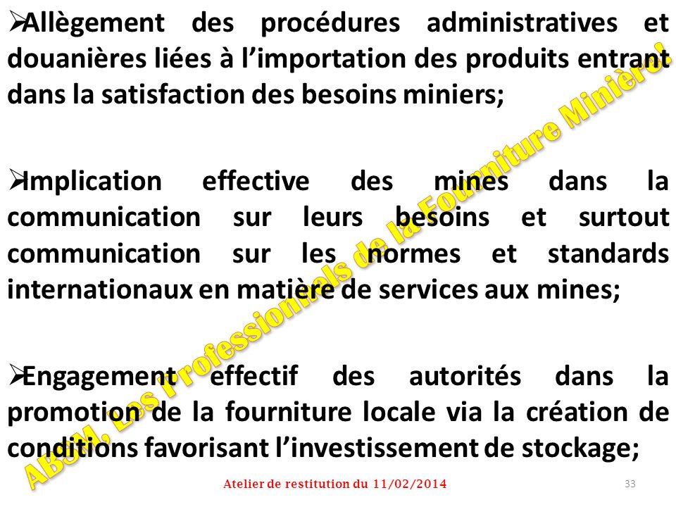 Allègement des procédures administratives et douanières liées à limportation des produits entrant dans la satisfaction des besoins miniers; Implicatio