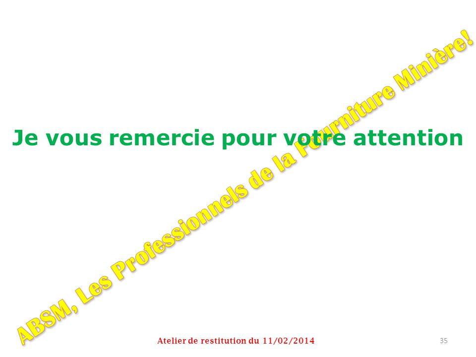 Je vous remercie pour votre attention Atelier de restitution du 11/02/2014 35