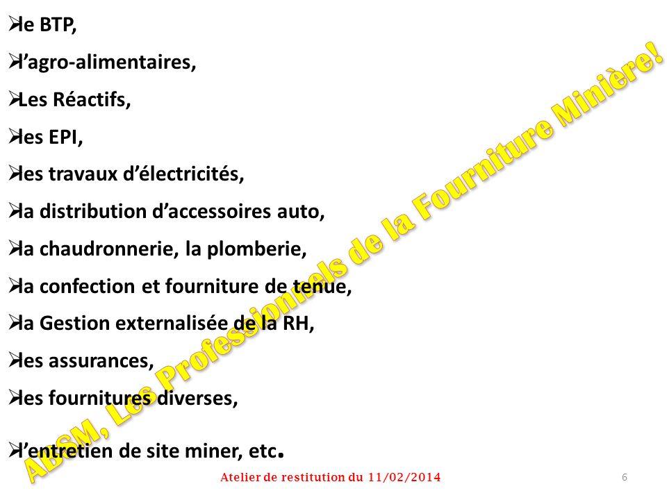 le BTP, lagro-alimentaires, Les Réactifs, les EPI, les travaux délectricités, la distribution daccessoires auto, la chaudronnerie, la plomberie, la co