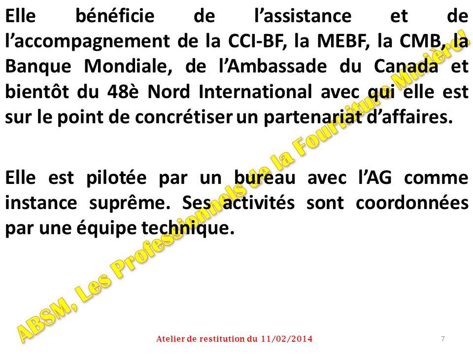 Elle bénéficie de lassistance et de laccompagnement de la CCI-BF, la MEBF, la CMB, la Banque Mondiale, de lAmbassade du Canada et bientôt du 48è Nord