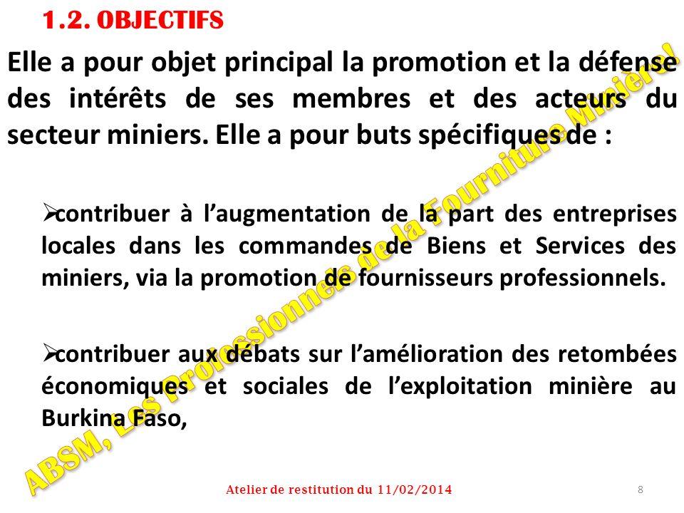 1.2. OBJECTIFS Elle a pour objet principal la promotion et la défense des intérêts de ses membres et des acteurs du secteur miniers. Elle a pour buts