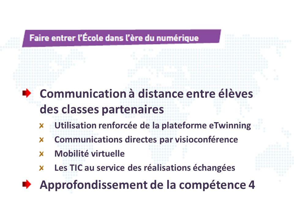 Communication à distance entre élèves des classes partenaires Utilisation renforcée de la plateforme eTwinning Communications directes par visioconfér