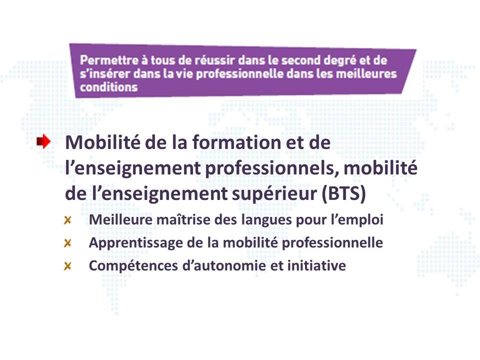 Mobilité de la formation et de lenseignement professionnels, mobilité de lenseignement supérieur (BTS) Meilleure maîtrise des langues pour lemploi App