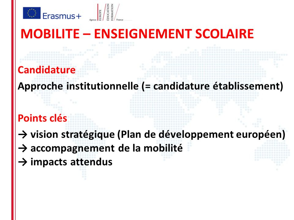 Candidature Approche institutionnelle (= candidature établissement) Points clés vision stratégique (Plan de développement européen) accompagnement de