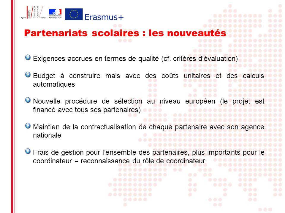Partenariats scolaires : les nouveautés Exigences accrues en termes de qualité (cf. critères dévaluation) Budget à construire mais avec des coûts unit