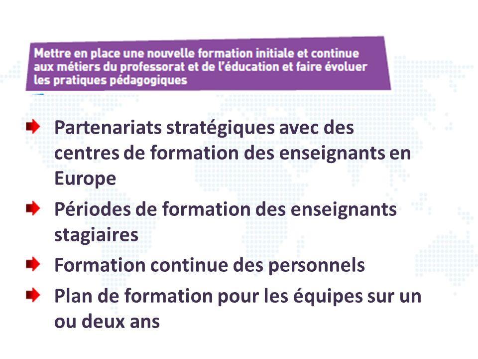 Partenariats stratégiques avec des centres de formation des enseignants en Europe Périodes de formation des enseignants stagiaires Formation continue