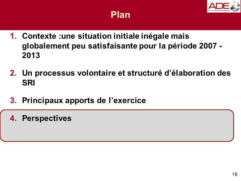 16 Plan 1.Contexte :une situation initiale inégale mais globalement peu satisfaisante pour la période 2007 - 2013 2.Un processus volontaire et structuré délaboration des SRI 3.Principaux apports de lexercice 4.Perspectives
