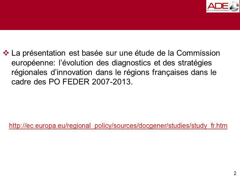 2 La présentation est basée sur une étude de la Commission européenne: lévolution des diagnostics et des stratégies régionales dinnovation dans le régions françaises dans le cadre des PO FEDER 2007-2013.