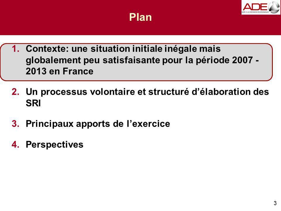 3 Plan 1.Contexte: une situation initiale inégale mais globalement peu satisfaisante pour la période 2007 - 2013 en France 2.Un processus volontaire et structuré délaboration des SRI 3.Principaux apports de lexercice 4.Perspectives