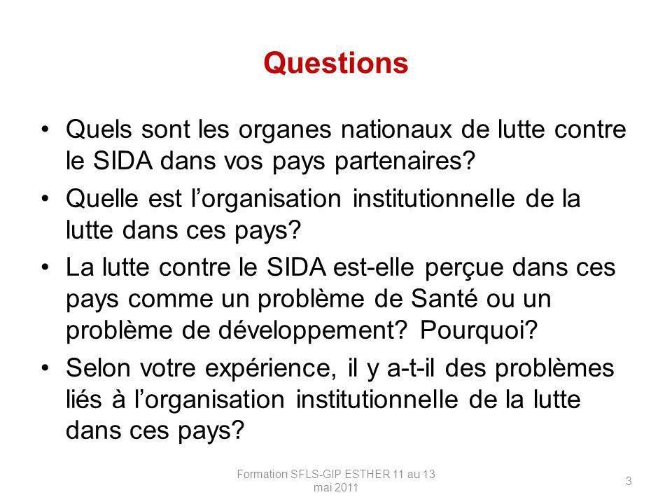 Questions Quels sont les organes nationaux de lutte contre le SIDA dans vos pays partenaires? Quelle est lorganisation institutionnelle de la lutte da