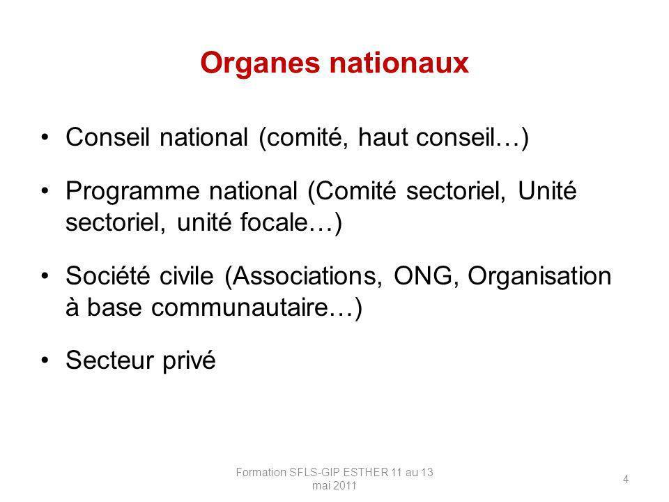 Organes nationaux Conseil national (comité, haut conseil…) Programme national (Comité sectoriel, Unité sectoriel, unité focale…) Société civile (Assoc