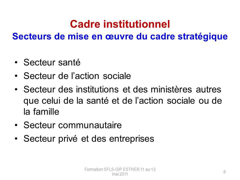 Cadre institutionnel Secteurs de mise en œuvre du cadre stratégique Secteur santé Secteur de laction sociale Secteur des institutions et des ministère