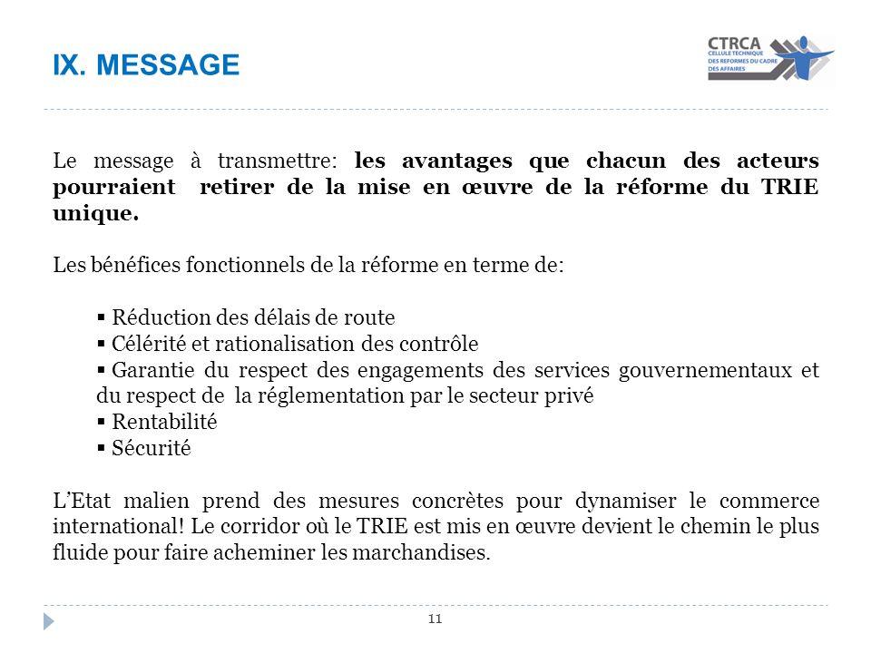 IX. MESSAGE 11 Le message à transmettre: les avantages que chacun des acteurs pourraient retirer de la mise en œuvre de la réforme du TRIE unique. Les