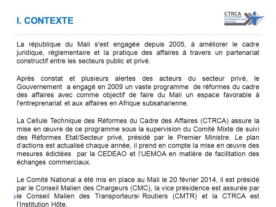 I. CONTEXTE 2 La république du Mali s'est engagée depuis 2005, à améliorer le cadre juridique, réglementaire et la pratique des affaires à travers un