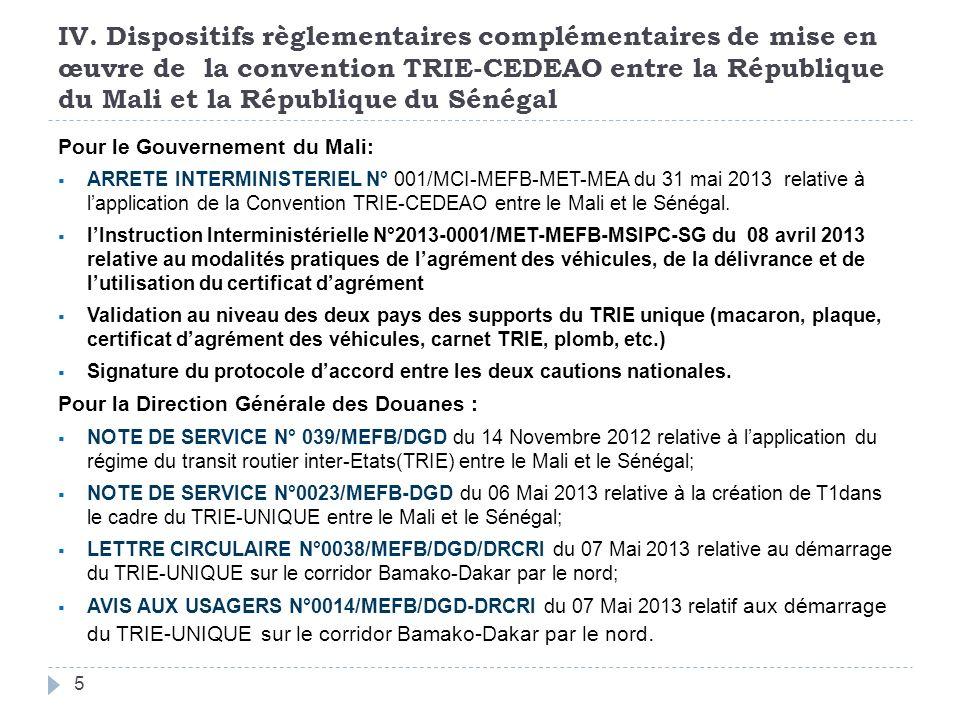 IV. Dispositifs règlementaires complémentaires de mise en œuvre de la convention TRIE-CEDEAO entre la République du Mali et la République du Sénégal P