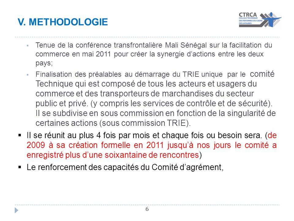 V. METHODOLOGIE 6 Tenue de la conférence transfrontalière Mali Sénégal sur la facilitation du commerce en mai 2011 pour créer la synergie dactions ent
