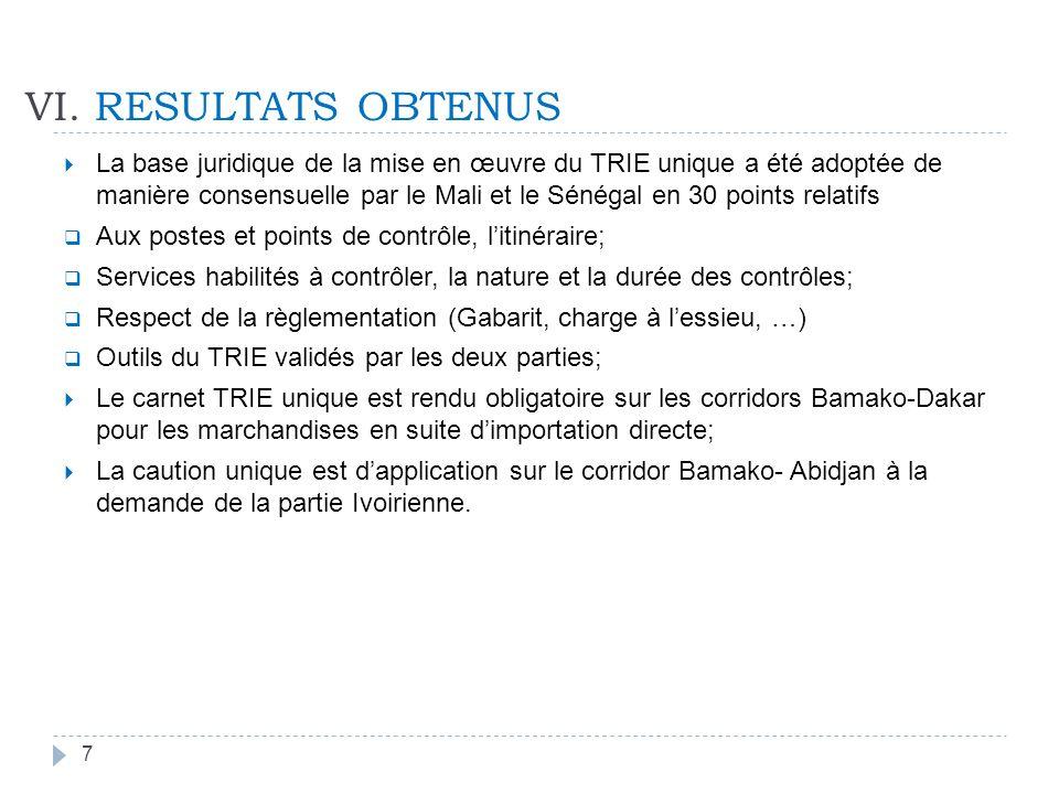 VI. RESULTATS OBTENUS La base juridique de la mise en œuvre du TRIE unique a été adoptée de manière consensuelle par le Mali et le Sénégal en 30 point