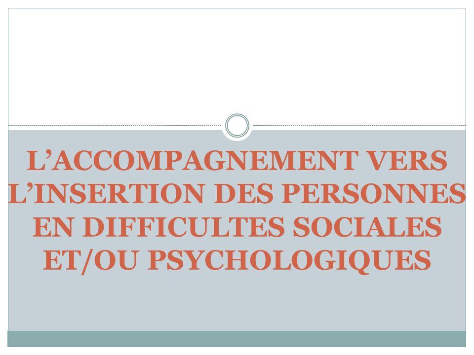 LACCOMPAGNEMENT VERS LINSERTION DES PERSONNES EN DIFFICULTES SOCIALES ET/OU PSYCHOLOGIQUES