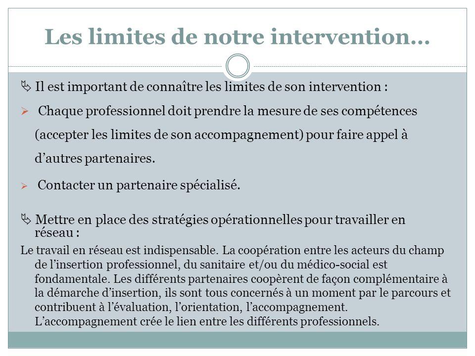 Les limites de notre intervention… Il est important de connaître les limites de son intervention : Chaque professionnel doit prendre la mesure de ses compétences (accepter les limites de son accompagnement) pour faire appel à dautres partenaires.