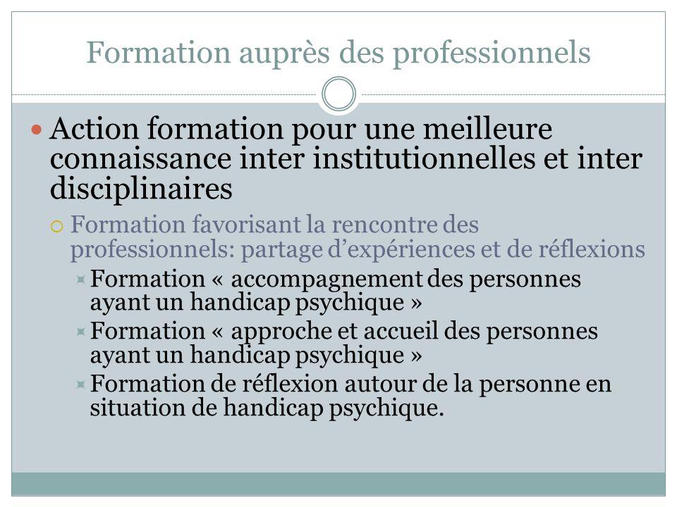 Formation auprès des professionnels Action formation pour une meilleure connaissance inter institutionnelles et inter disciplinaires Formation favoris