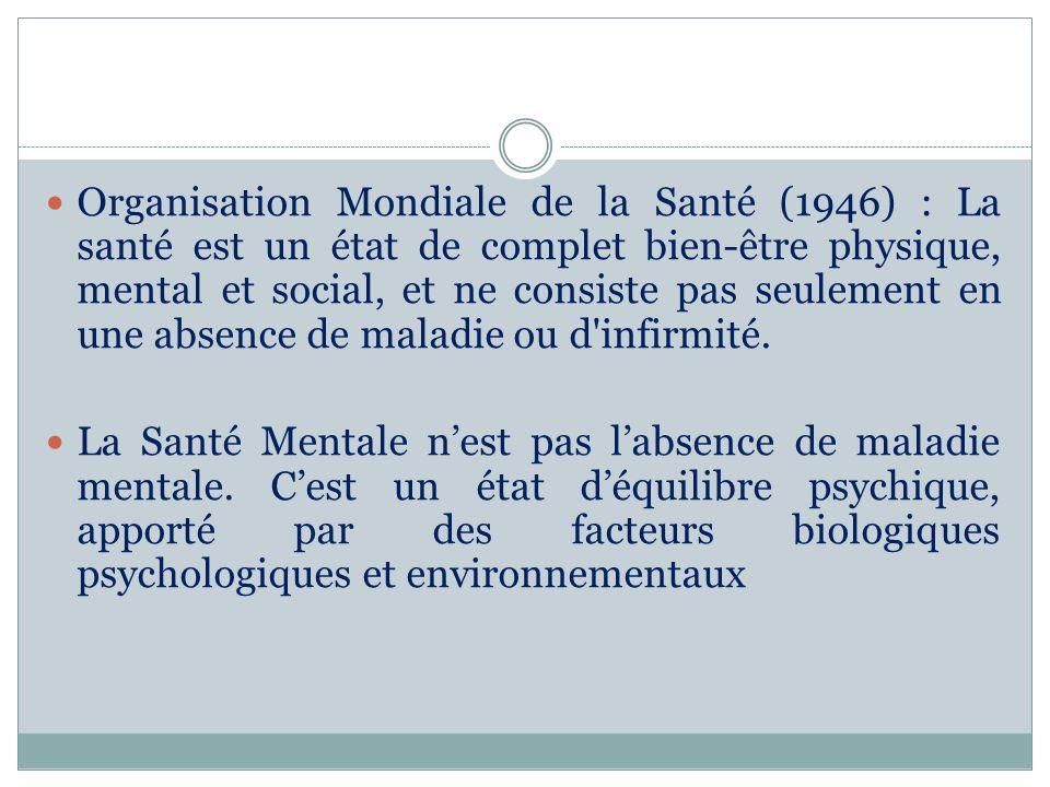 Organisation Mondiale de la Santé (1946) : La santé est un état de complet bien-être physique, mental et social, et ne consiste pas seulement en une a