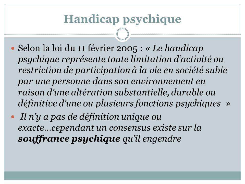 Handicap psychique Selon la loi du 11 février 2005 : « Le handicap psychique représente toute limitation dactivité ou restriction de participation à l