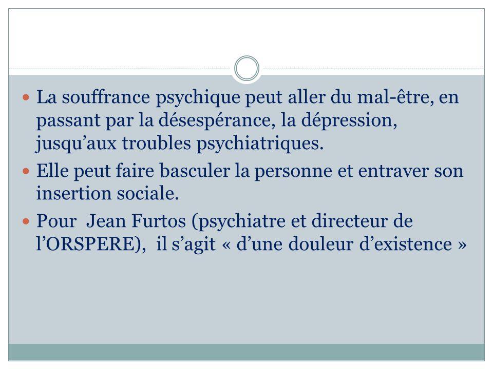 La souffrance psychique peut aller du mal-être, en passant par la désespérance, la dépression, jusquaux troubles psychiatriques. Elle peut faire bascu