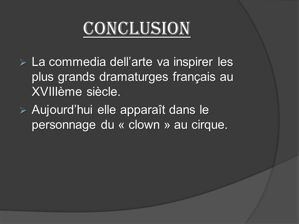 Conclusion La commedia dellarte va inspirer les plus grands dramaturges français au XVIIIème siècle.