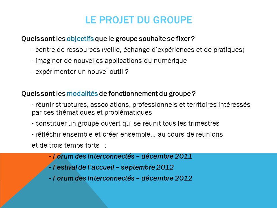 LE PROJET DU GROUPE Quels sont les objectifs que le groupe souhaite se fixer ? - centre de ressources (veille, échange dexpériences et de pratiques) -