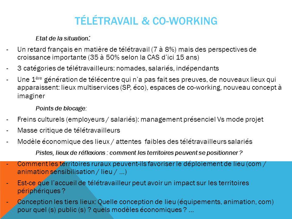 TÉLÉTRAVAIL & CO-WORKING Etat de la situation : -Un retard français en matière de télétravail (7 à 8%) mais des perspectives de croissance importante (35 à 50% selon la CAS dici 15 ans) -3 catégories de télétravailleurs: nomades, salariés, indépendants -Une 1 ère génération de télécentre qui na pas fait ses preuves, de nouveaux lieux qui apparaissent: lieux multiservices (SP, éco), espaces de co-working, nouveau concept à imaginer Points de blocage: -Freins culturels (employeurs / salariés): management présenciel Vs mode projet -Masse critique de télétravailleurs -Modèle économique des lieux / attentes faibles des télétravailleurs salariés Pistes, lieux de réflexions : comment les territoires peuvent se positionner .