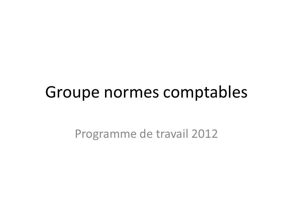 Groupe normes comptables Programme de travail 2012
