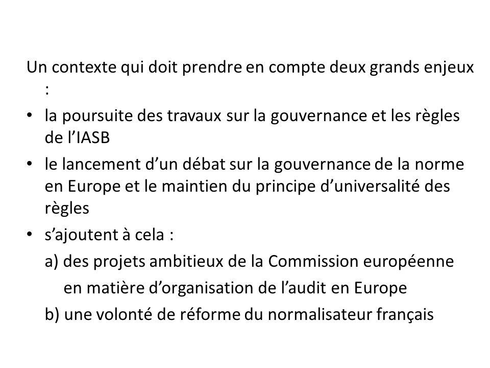 Un contexte qui doit prendre en compte deux grands enjeux : la poursuite des travaux sur la gouvernance et les règles de lIASB le lancement dun débat sur la gouvernance de la norme en Europe et le maintien du principe duniversalité des règles sajoutent à cela : a) des projets ambitieux de la Commission européenne en matière dorganisation de laudit en Europe b) une volonté de réforme du normalisateur français